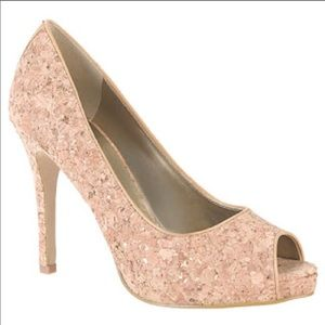 Nine West cork peep toe heels